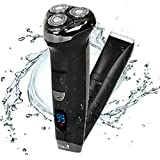 Ceenwes Electric Razor Hair Clippers Rechargeable Electric Shaver Cordless Clippers Hair Trimmer Waterproof Mens Electric Razor Wet & Dry Rotary Shavers with 4 Guide Combs for Men Kids Babies