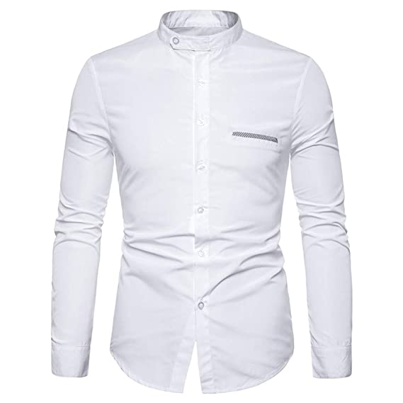 Slim Blusa Camisas Tops Camiseta Hombre De Impreso Manga Larga Moda F1JcTlK