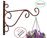 Home Garden Decor Flower Pot Hooks Hanger Outdoor/Indoor Hanging Plants Bracket Lantern Hooks Pack of 2 (B, 9.8 x 8.2 in, Coffee)