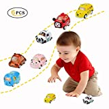 Joyjam Cartoon Animal Toy Cars Assorted Mini Push and Go Toy Play Set for Toddlers Party Favors Toys for Boys 2-3 Year Old - Elephant Puppy Kitty Cat Bear Panda 6 Pack