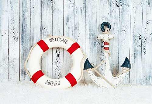 OFILA Aboard Backdrop 7x5ft Life Buoy Anchor Wood Seaside Theme Newborn Baby Photography Kids Birthday Party Decoration Baby Shower Background Girls Portraits Toddler Boys Shoots Video Props
