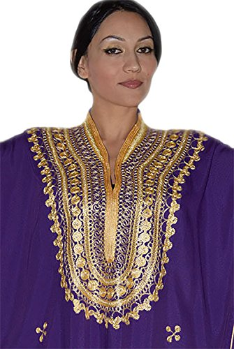 Moroccan Caftan Hand Made Top Quality Breathable Cotton with Gold Hand Embroidery Long Length Purple by Moroccan Caftans (Image #2)