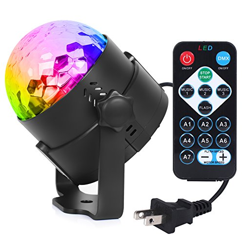 Syntus 2.5m Power Cord DJ Light Disco Ball Strobe Light Party Lights 3W Sound Activated LED Stage Lights with Remote Control for Festival, Celebration, Party, Bar, Gift UL Listed Plug