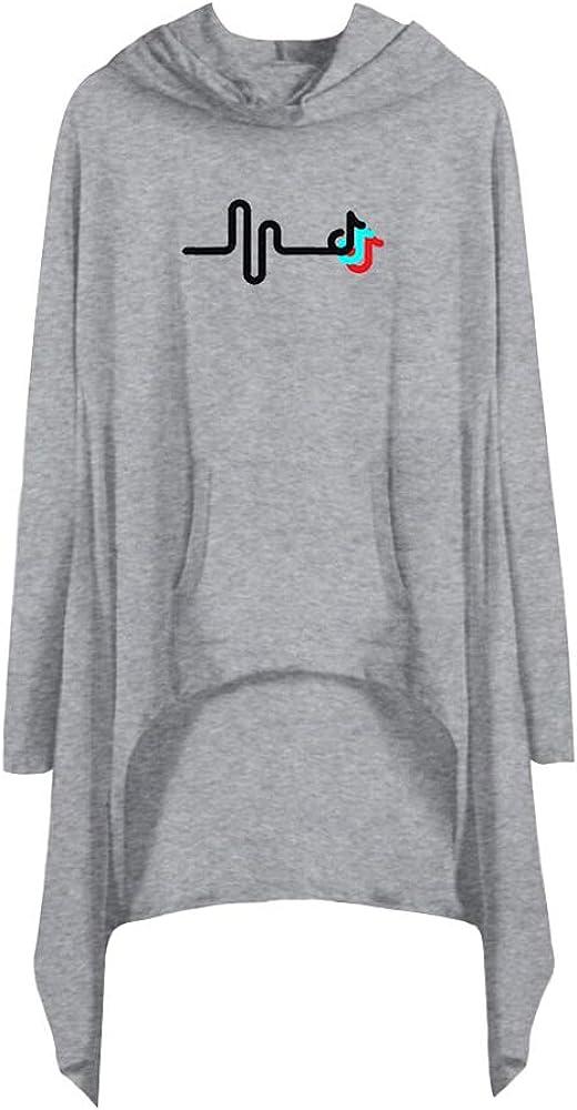 TIK TOK Vestido Asimetrico Mujer Mangas Largas Camisa Irregular Tunica con Capucha Sudadera Todos los Miembros Kaftan Blusa Camiseta Top C00282-LY03-3-XL: Amazon.es: Ropa y accesorios