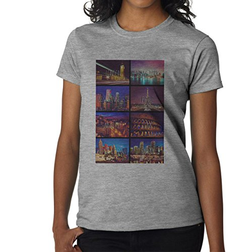 London New York Miami Las Vegas Madrid Cities Design Damen T-Shirt