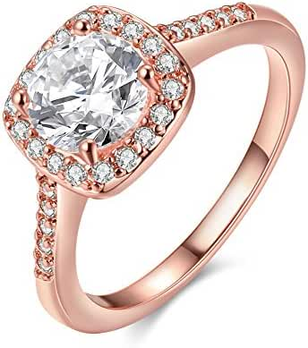 [Forever Love] Women's Pretty 18K Rose Gold Plated Princess Cut CZ Crystal Engagement Rings Best Promise Rings for Her Anniversary Cocktail Arrow Wedding Bands Haoze Collection Jewelry Rings