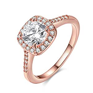 EnjoIt Rose Gold Plated CZ Crystal Square Rings Wedding Rings for Women Size 7