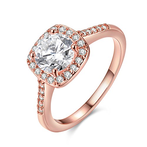 Uloveido Women's Pretty 18K Rose Gold Plated Princess Cut CZ Crystal Engagement Rings Best Promise Rings for Her Anniversary Wedding Bands Collection Jewelry Rings (Rose Gold Color, Size 9) ()