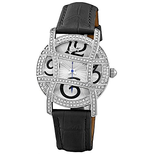 "JBW Women's JB-6214L-D ""Olympia"" Stainless Steel Designer Dial Leather Diamond Watch"