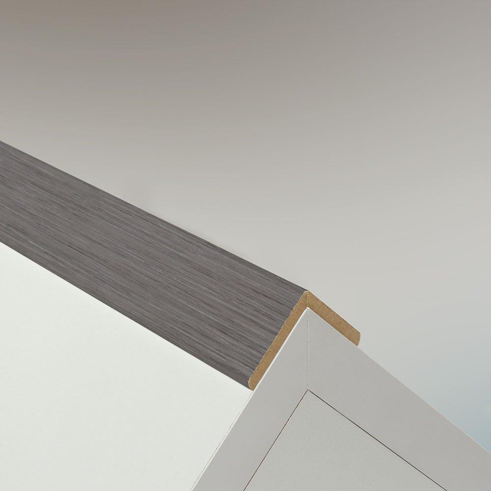 Winkelleiste Schutzwinkel Winkelprofil Tapeten-Eckleiste Abschlussleiste Abdeckleiste aus MDF in Allure Grau 2600 x 32 x 32 mm
