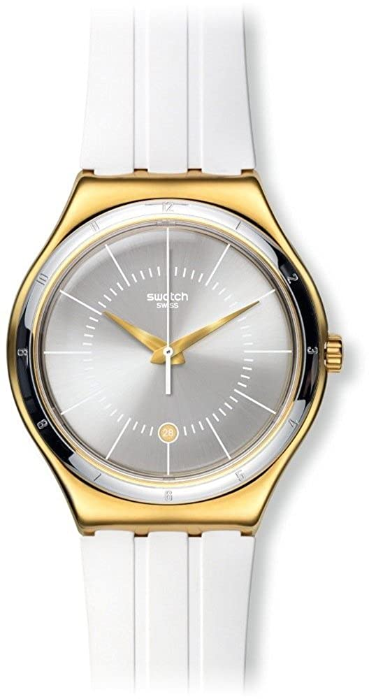Amazon.com: Swatch Irony Whiteliner Silver Dial White Rubber Ladies Watch YWG401: Swatch: Watches