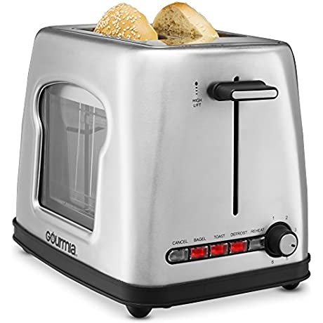 New Improved Gourmia GWT430 Stainless Steel Wide Slot Toaster With See Through Window 4 Setting Toaster For Bread Bagels 6 Adjustable Temperature Controls