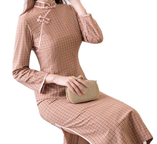 Long Coolred Sleeve Collar Out Plaid Cheongsam Vintage Cut Stand 2 Women ZFqFfwxr5