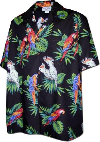 Pacific Legend Parrots Hawaiian Shirt Black 3531-L