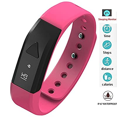 Twinbuys Smart Bracelet Bluetooth 4.0 Android iOS IP 68 Waterproof Fitness Tracker Phone Message Notice Pedometer Distance Calories Counter Sleep Monitor Health Sport Wristband Pink