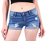 Wax Women's Juniors Body Enhancing Denim Shorts Med. Wash X-Large