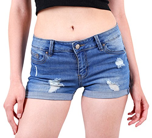 - Wax Women's Juniors Body Enhancing Denim Shorts Med. Wash XX-Large
