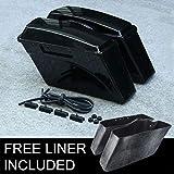 XMT-MOTO Vivid Black ABS Hard Saddle Bags Saddlebags fits for...