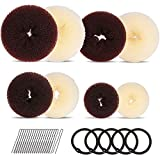 8pcs Hair Donut Bun Maker, FANDAMEI Hair Bun Maker Set with 4pcs Dark Brown &4pcs Beige Donut Bun Makers (2 extra-large, 2 large, 2 medium and 2 small), 5 pieces Hair Elastic Bands,20 pieces Hair Pins