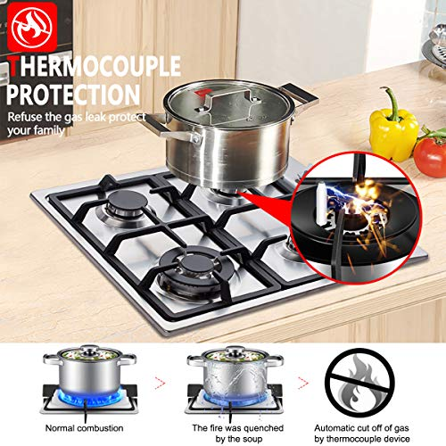 Gas Cooktop, GH60SSC 24'' Gas Stove Top, LPG Natural Gas 4 Burners, ETL Safety Thermocouple Easy Clean