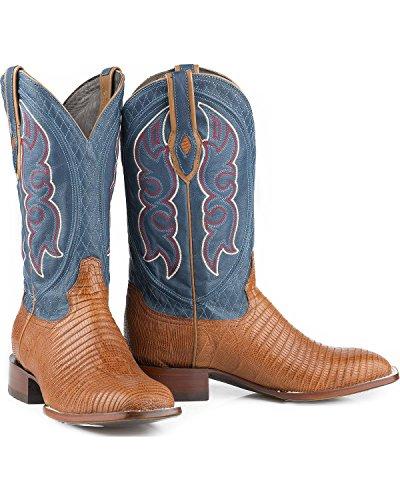Stetson Mens Teju Boot Da Cowboy Lucertola Punta Quadrata - 12-020-1852-0372 Ta Tan
