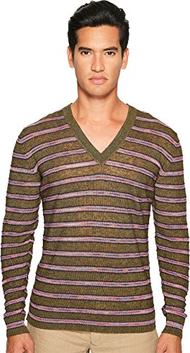 5e75ae63371 Missoni Men s Striped Linen Sweater Green Sweater