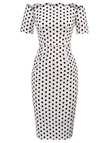 Dress with Vintage Slim Retro White Polka Stretchy Fitted Pockets Dots 1950s Shoulder Women's Off Pencil P7TTqE