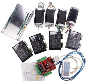 Sunwin Usbcnc 4 Axis Interface Board Nema23 Dual Shaft
