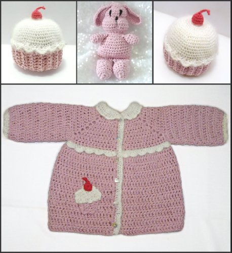 Toddler Cupcake Coat Hat and Bunny Crochet Pattern PDF 687