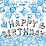 THINK SOGOOD Happy Birthday Balloons Decorations Set, 130pcs Pearlescent Latex Balloons and Mylar Foil Balloons with Pump and Adhesive Tape, for Birthday Party Decorations and Supplies