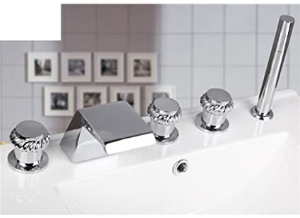 Split Hot And Cold Faucet/Bathtub Faucets With Five Piece Of Cover/Waterfall