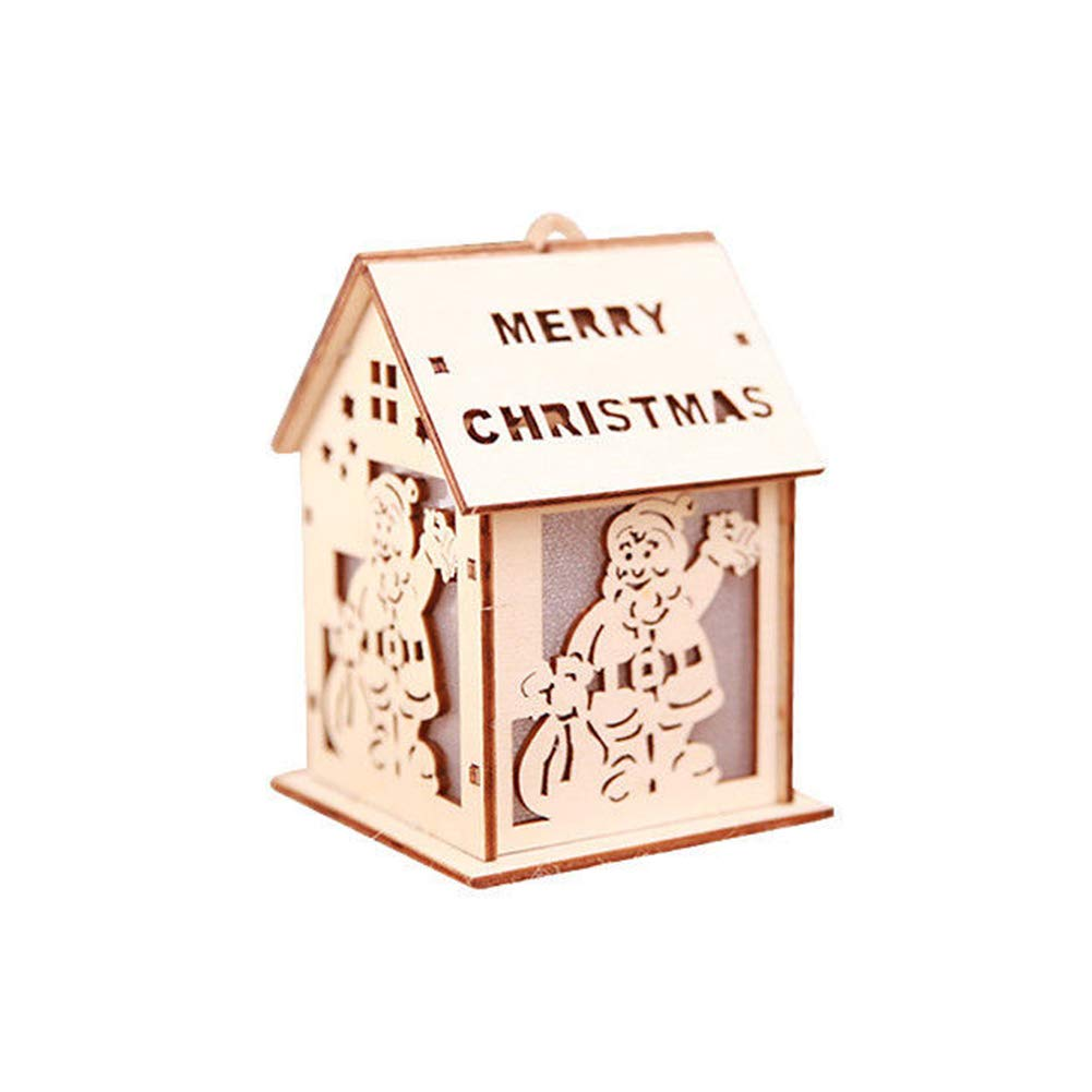 Achidistviq ornamento di Natale luce LED chalet House Bell Elk Decorationchristmas per albero di Natale, Babbo Natale con luci color Chale forniture per bambini regali piccola casa ornamenti, Legno, Bell, small