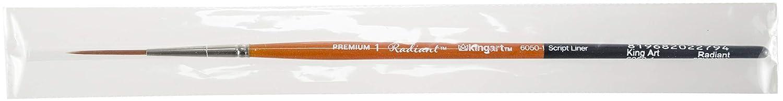 KINGART 6050-1 TAKLON Script Liner Paint Brush, 1, Black, Silver, Orange
