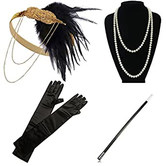 1920s Gatsby Flapper Costume Accessories Feather Headband Earrings Pearl Necklace Gloves Cigarette Holder
