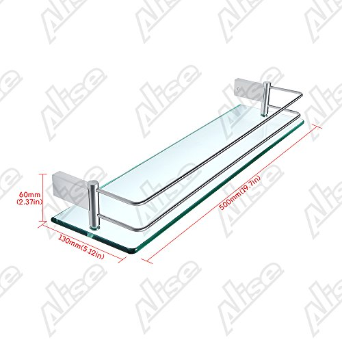 Alise GC1000 SUS 304 Stainless Steel Bathroom Glass Shelf Wall Mount,Brushed Finish by Alise (Image #1)