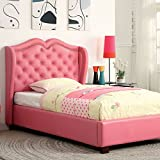 Monroe Contemporary Style Pink Finish Leatherette Full Size Bed Frame Set