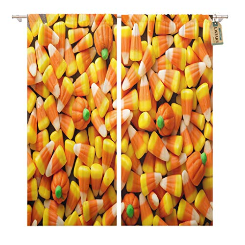 Golee Window Curtain Colorful Candy Corn and Pumpkin Halloween Overhead Shot Orange Home Decor Rod Pocket Drapes 2 Panels Curtain 104 x 84 inches -
