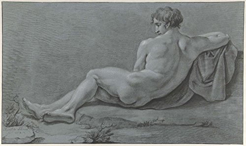 """Classic Art Poster - Lying male nude, seen from the back, Henry Flines, 1780 - 1789 14.5"""" x 24"""""""