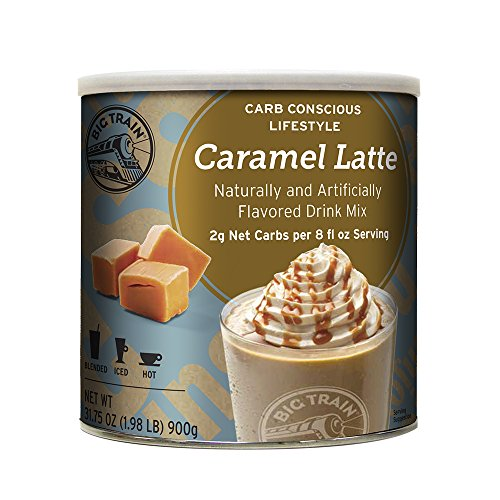 Big Train Low Carb Iced Coffee Mix (1.98lb can)-Caramel Latte Low Carb Iced (Big Train Low Carb)