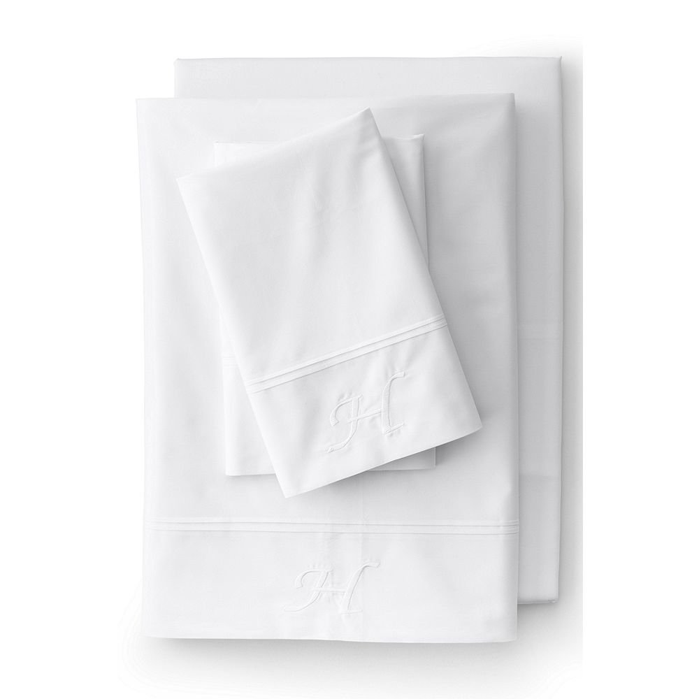 Lands' End School Uniform 200 Percale Solid Pintuck Sheets, K, White