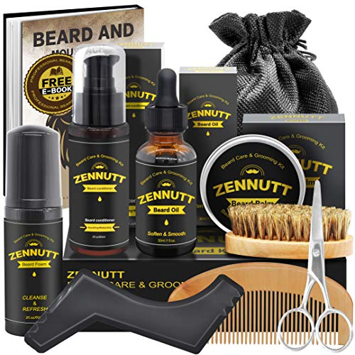 Beard Growth Kit,Beard Kit,Beard Grooming Kit w/Beard Foam,Beard Conditioner,Beard Growth Oil,Beard Balm,Brush,Comb,Scissor,Storage Bag,E-Book,Beard Care Kit for Men Stuff,Unique Christmas Gift Set