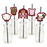 Big Dot of Happiness Farm Animals Paper Straw Decor - Baby Shower or Birthday Party Striped Decorative Straws - Set of 24