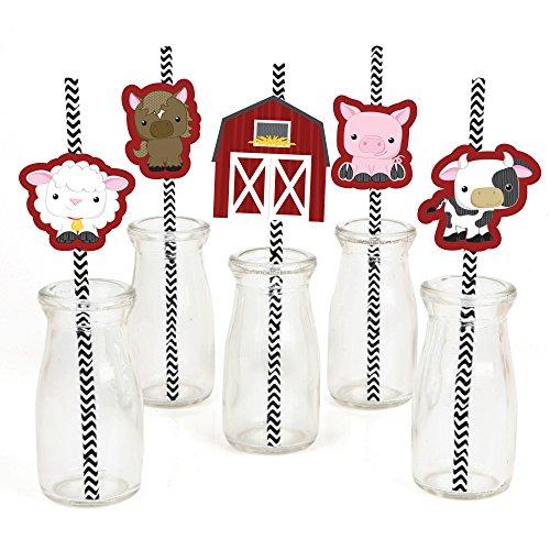 Barnyard Baby Shower (Farm Animals Paper Straw Decor - Baby Shower or Birthday Party Striped Decorative Straws - Set of 24)