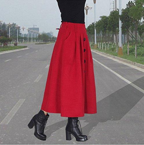 Longue Jupe Taille Replient et Automne Rouge Hiver Maillot NiSeng pour Femme Maxi Jupe sur q0ffFR