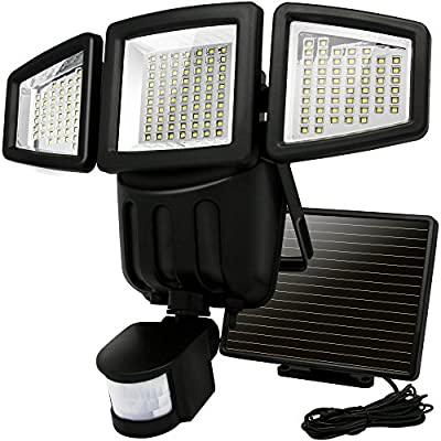 Solar Lights Motion Sensor, Costech 182 LED 1000 Lumens Outdoor Sensor Light Weatherproof Triple Dual Head Outdoor Motion Sensor Fire Flood Light, Ultra-Bright for Patio, Deck, Yard, Garden, Driveway
