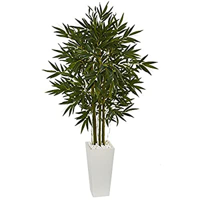 Nearly Natural 6' Bamboo Artificial Tree in White Tower Planter Green