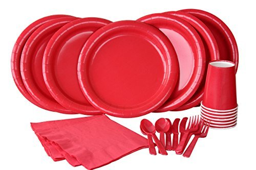 Party Lovers Premium Party Supplies Disposable Dinnerware Set - 20pc Includes Red Dinner Plates, Cutlery, Tablecloth Napkins and Cups - Birthday Paper Tableware Collections