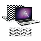 TOP CASE 3 in 1 Bundle - Chevron Series Rubberized Hard Case + Keyboard Cover + Screen Protector for MacBook Pro 13.3