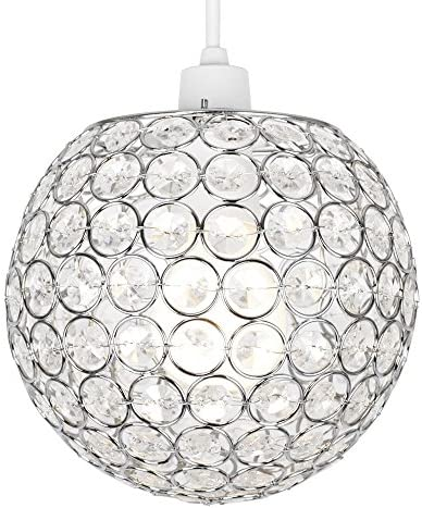 Modern Chrome Globe Ceiling Light Shade With Acrylic Crystal Effect Jewels Amazon Co Uk Kitchen Home