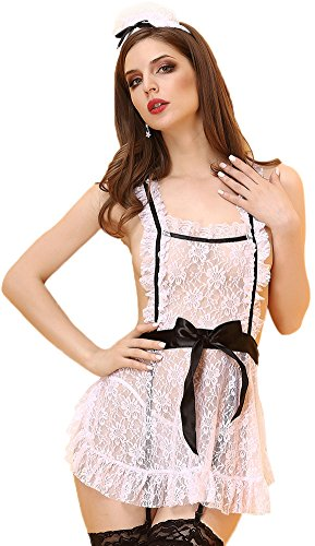 Queen.M Lace See Through Sexy Lingerie Maid Uniform Apron Fancy Dress Costume White Small